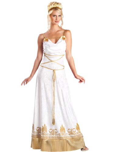 White and Gold Dress Sexy Greek Goddess Costume Womens Theatrical Costume