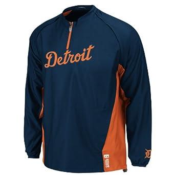 MLB Detroit Tigers Long Sleeve Lightweight 1 4 Zip Gamer Road Jacket, Navy Orange by Majestic