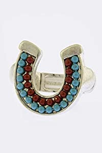KARMAS CANVAS BEADED HORSESHOE ACCENT RING (Red/Silver)