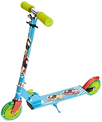 TOYHOUSE Two Wheeled Metal Folding Skate Scooter with Light up Wheels and Height Adjustable Handlebar Blue