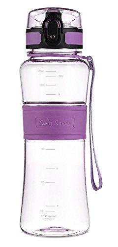 Swig Savvy Bottles 18 oz Triton Water Bottle Eco Friendly & BPA-Free Leak Free One-Click Flip Top open Ideal For Sports Yoga Camping Biking & Jogging (Purple)