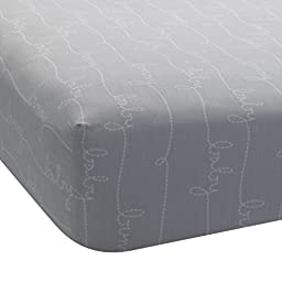 Lambs & Ivy Bunny Collection Fitted Sheet, Gray Script