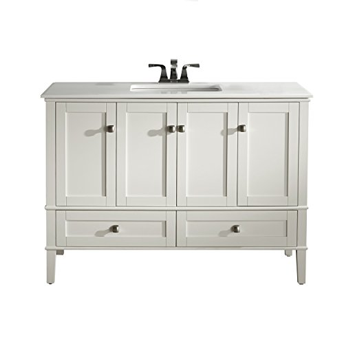 "Simpli Home Chelsea 48"" Bath Vanity with White Quartz Marble Top, Soft White"