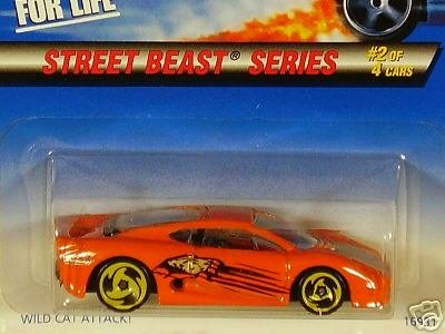 Mattel Hot Wheels 1997 1:64 Scale Street Beast Series Orange Jaguar XJ220 Die Cast Car 2/4 - 1