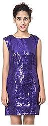 Izna Women's Slim Fit Dress (IDWD1002PL-Small, Purple, Small)