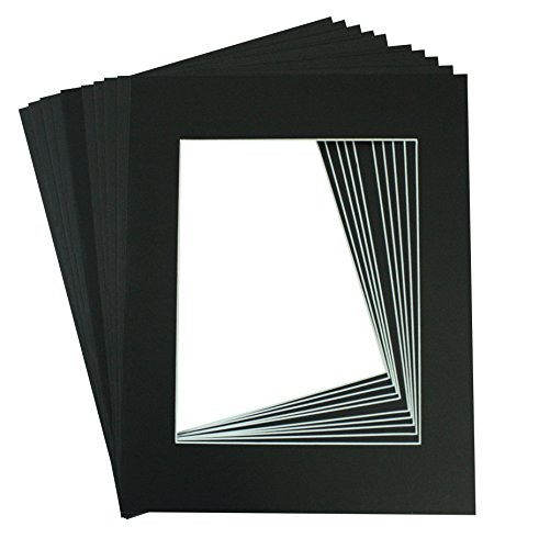 Mat Board Center, Pack of 10, 11x14 BLACK COLORS Picture Mats for 8x10 Photos (Picture Frame Mat 8x10 compare prices)