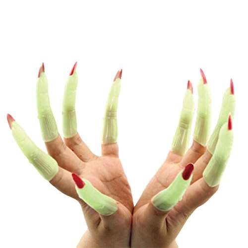 Avitalk Green Glow Halloween Long Fake Nails Noctilucent Props Witch Vampire Ghost Devil Finger (Halloween Witch Nails)