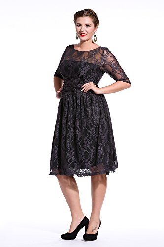 Dilanni-Women-Elegant-Lace-Dress-Wedding-Evening-Maxi-short-DressL-5XL