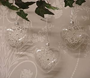 Set of Three christmas Xmas Tree Hearts Shaped Glass with Flower and Diamonte Detail Baubles Decorations
