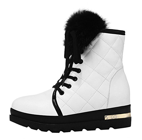 Guciheaven Winter New Style Women Cony Hair Casual Warm Mid-Calf Snow Boot(7.5 B(M)Us, White)