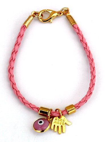 Gold Plated Hamsa & Evil Eye Pink Leather Bracelet for Kids