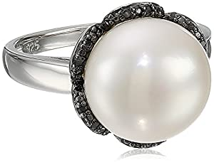 Black Rhodium Plated Sterling Silver 12-12.5 MM Freshwater Cultured Pearl and Black Diamond Ring, (0.1 Cttw), Size 8