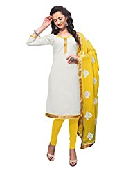 Varanga White Exclusive Dress Material with embroidery Fancy Dupatta KFKWB1010