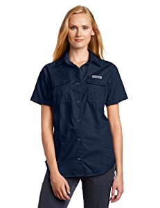 Columbia Women's Bonehead Short Sleeve Shirt, Collegiate Navy, X-Small