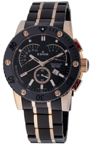 Edox Class 1 Chronoffshore Retrograde Rose Gold Tone Black Stainless Steel Mens Watch 01503-37RN-N