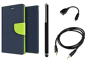 D'clair Combo of Flip Cover With Stylus ,OTG Cable and Aux Cable for Motorola Moto G Blue Green