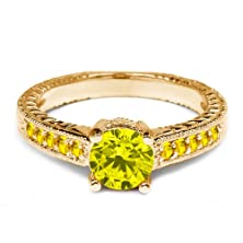 buy 0.35 Ct Round Canary Diamond Yellow Sapphire 14K Yellow Gold Engagement Ring