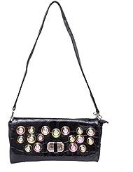 Omkar Shopy New Fashion Women's Ladies PU Clutch/Purse With Sling (Cross Body Bag)(Black) OS125003424