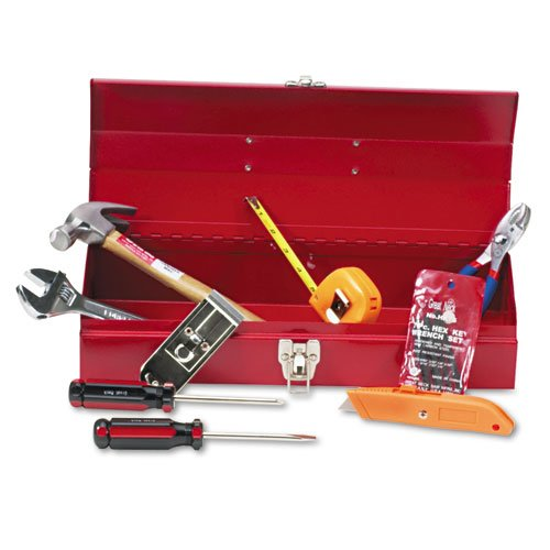 Great Neck - 16-Piece Light-Duty Office Tool Kit, Metal Box, Red Ctb9 (Dmi Ea