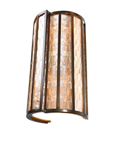 Varaluz Affinity 2-Light Sconce, New Bronze/Natural Capiz
