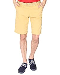 Campus Sutra Solid Mens Chino Shorts-Yellow (SS15SOL_SHORT_M_PLN_YE_30)