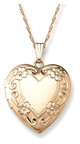"""14k Yellow Gold Filled Engraved Heart Locket, 20"""""""
