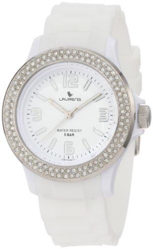 Laurens Women's GW70J901Y  Swarovski Crystal Bezel White Dial Rubber Watch