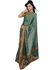 Exotic India Hunter-Green Embroidered Wedding Sari With Mirror Work And - Green