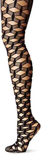 Leg Avenue Women's Large 5-String Fish Scale Fishnet Pantyhose, Black, One Size