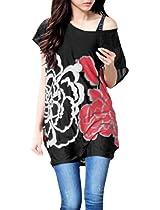 Allegra K Women Loose Fit Short Batwing Sleeve Flower Pattern Tunic Shirt