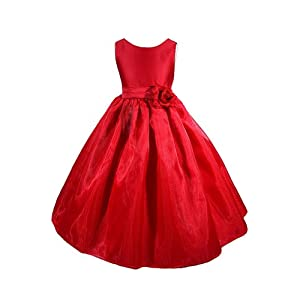 Red Princess Flower Girl Dress
