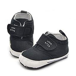 (4 Color) New Newborn Kids High Prewalker Soft Sole Cotton Ankle Boots Crib Shoes Sneaker (13-18 Months, Black)