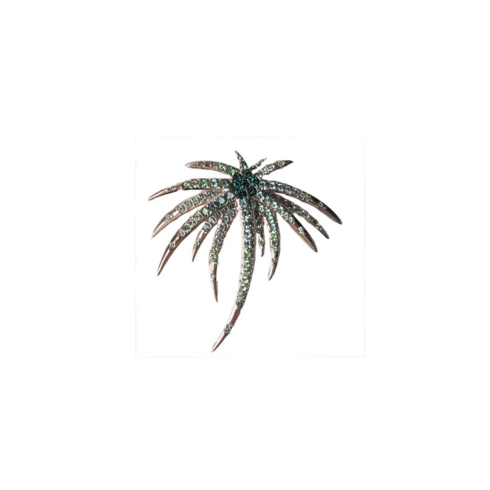 Fashion Plaza Unique Tropical Holiday Green Coconut Palm Crystal Tree Pin Brooch BR117
