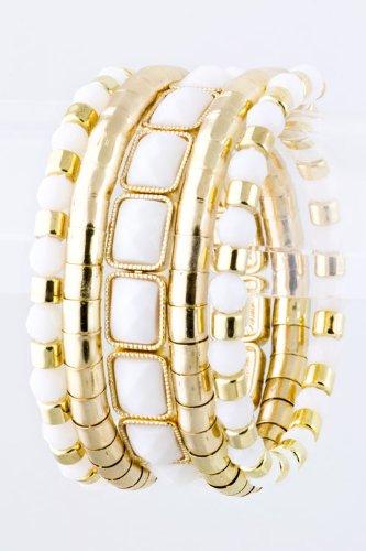 Karmas Canvas Beaded Coil Bracelet (White) front-1009803