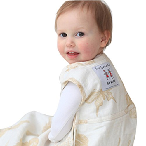 """Merino Kids """"Butterfly"""" Limited Edition Linen Outer Merino Baby Sleep Sack For Toddlers 2-4 years, Natural"""