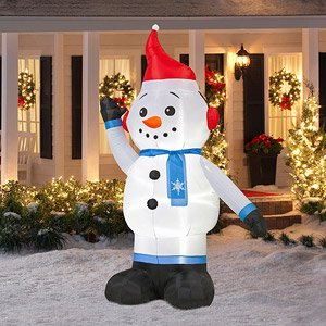 8 ft tall large lighted giant airblown lights up inflatable self inflates blow up waving snowman jack frost white snow man outdoor decor air blown christmas
