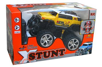 XStunt Radio Controlled 1/14 Scale 360 Spin Stunt Jeep inc. Controller - Yellow