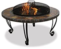 UniFlame WAD820SP 34-Inch Slate & Marble Firepit with Copper Accents by UniFlame