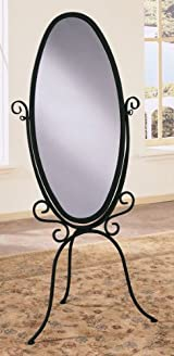 Black and Gold Metal Floor Standing Cheval Mirror