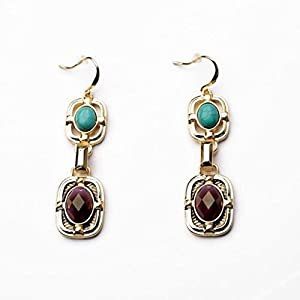 Gold Plated Turquoise and Toffee Rhinestone Drop Earrings Statement Piece (in a Gift Pouch)