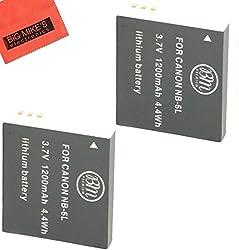Pack Of 2 NB-6L Replacement Batteries For Canon PowerShot S120 SX170 IS SX260 HS SX280 HS SX500 IS SX510 HS SX600 HS SX700 HS ELPH 500 HS D10 D20 D30 Digital Camera + More!!