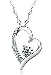 Sephla 14K White Gold Overlay Sterling Silver Forever Lover Heart Pendant Necklace For Women