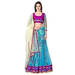 Admyrin Women Blue Net Lehenga Choli