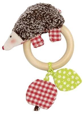 "Kathe Kruse 5"" Wooden Ring Rattle Plush Toy, Hedgehog Paul from Kathe Kruse"