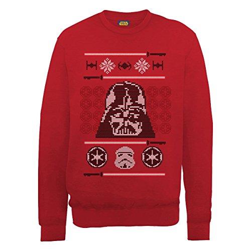 Star Wars - Christmas Dart Vader Head Knit, Felpa da uomo,  manica lunga, rosso(red), S