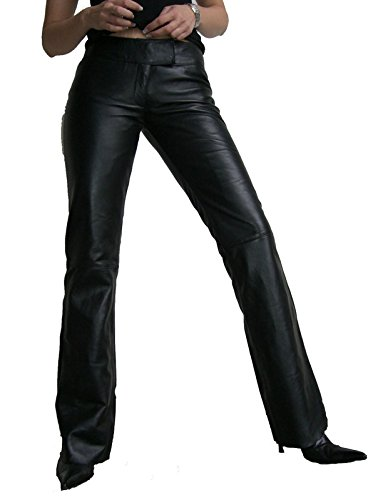 LOW CUT 2 von RICANO Damen Lederhose, Lamm Nappa Echtleder, schwarz