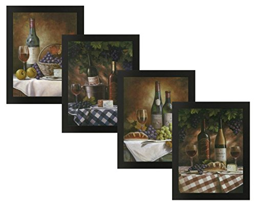 4 Framed Classy Wine Bottles Grapes Gourmet Fruit Art Prints Posters 11x14 Inches Kitchen Cafe Home Decor (Grape Wine Posters compare prices)