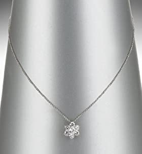 Platinum Plated Diamanté Floral Pendant Necklace
