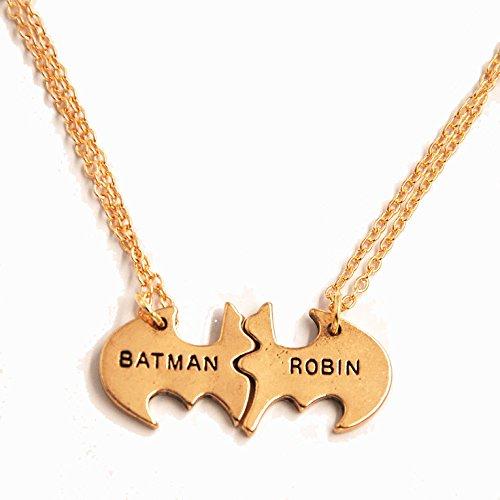 2Pcs DC Comics BATMAN & ROBIN BBF Metal Chain Necklace (Golden)