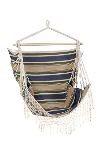 Sedia Amaca Deluxe Brazilian - Amaca a poltrona sedia sospesa con supporto - Deluxe Brazilian Hammock Chair FHB-BCH-B 145x120x100cm 2.02kg weight rating 110kg Durable, soft-touch 100% Cotton blend fabric.Swing chair, swinging chair, hanging chair. Solid timber rail for added comfort and weight rating